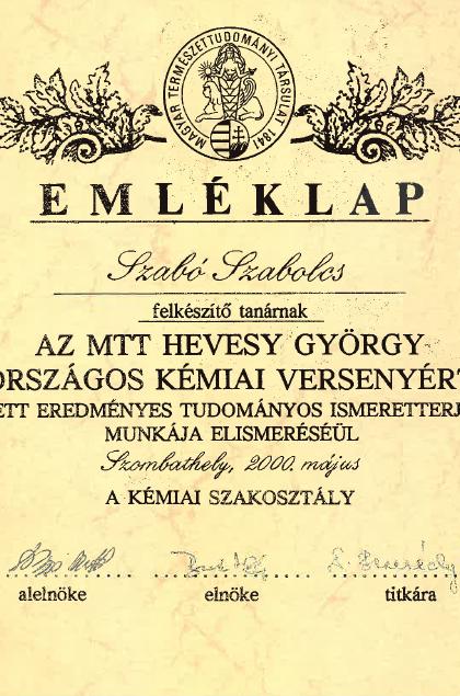 Emléklap_-_Az_MTT_Hevesy_György_Országos_Kémai_Verseny_2000