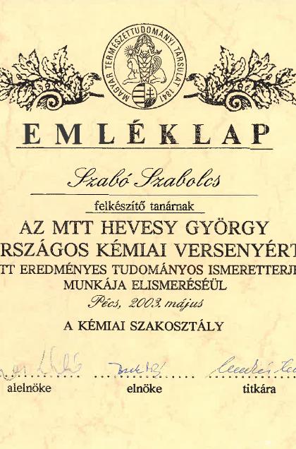 Emléklap_-_Az_MTT_Hevesy_György_Országos_Kémai_Verseny_2003