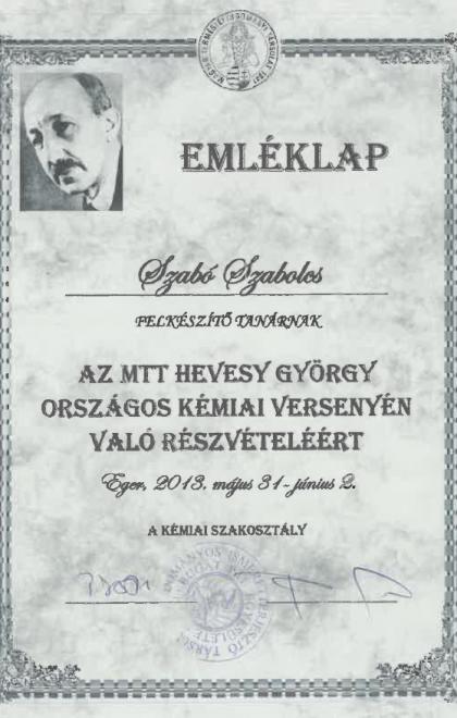 Emléklap_-_Az_MTT_Hevesy_György_Országos_Kémai_Verseny_2013